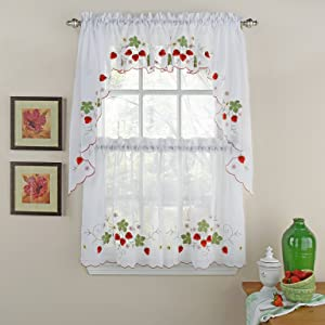 """LORRAINE HOME FASHIONS Strawberries Tier Window Curtains 58"""" x 24"""", Red"""