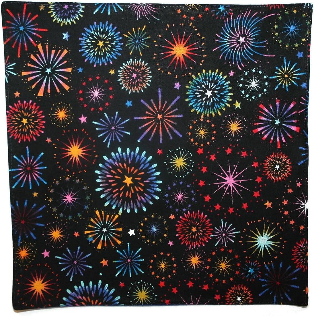 B01MZ8MTAE Holiday Bow Ties Mens Handkerchief Black Multi Colored Firework Pocket Square 712BmEUjCDIL