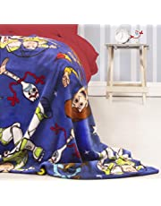 Toy Story Official 4 Fleece Throw   Blue Forky, Woody, Buzz Lightyear Design Super Soft Blanket   Perfect for Any Bedroom