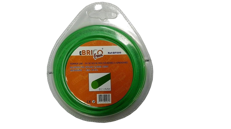 Bricoferr BF099 Hilo para desbrozadora (2 mm x 15 metros, redondo ...