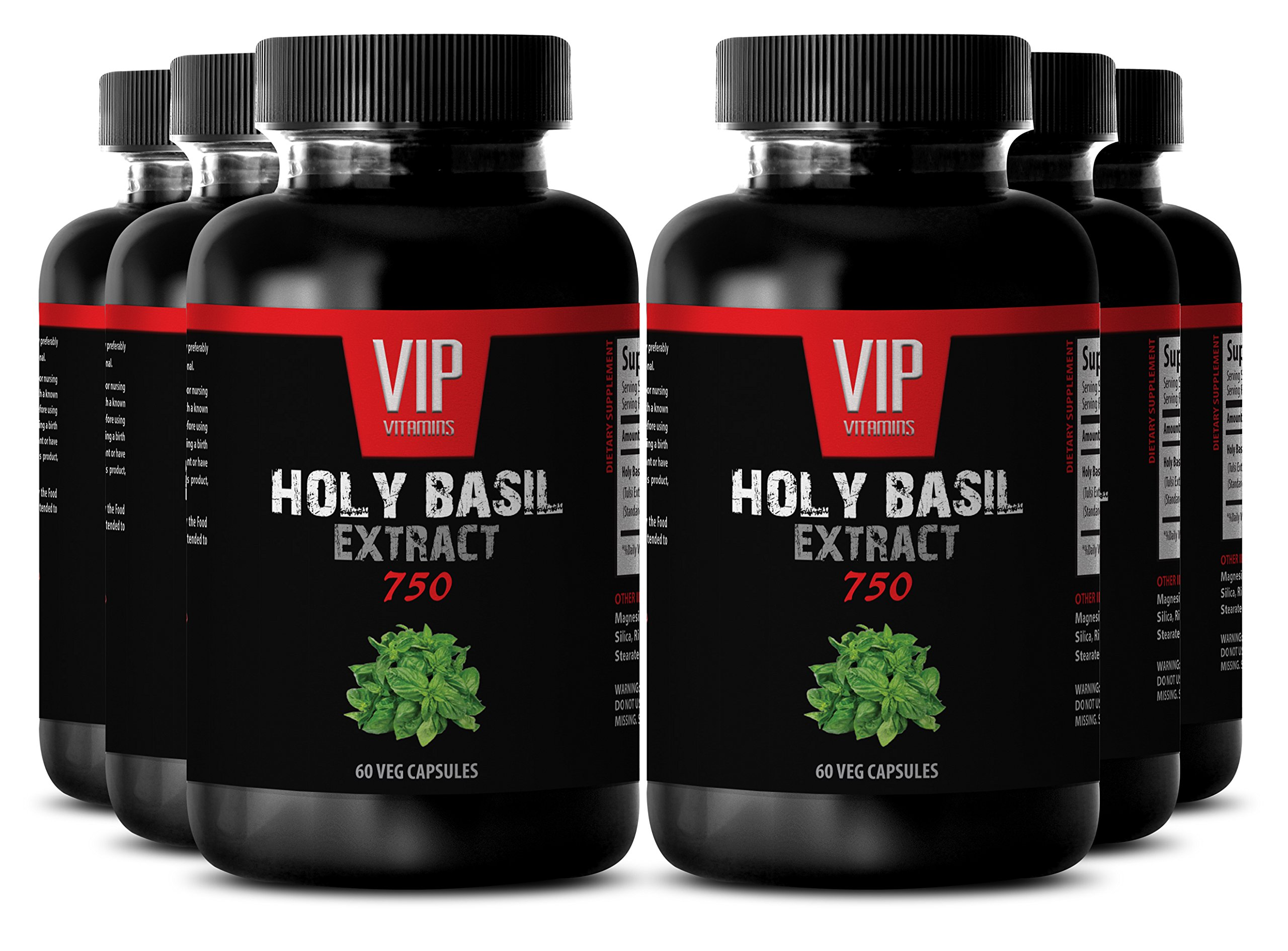 Respiratory supplements - HOLY BASIL EXTRACT 750 - immune system booster - 6 Bottles 360 Veg. Capsules