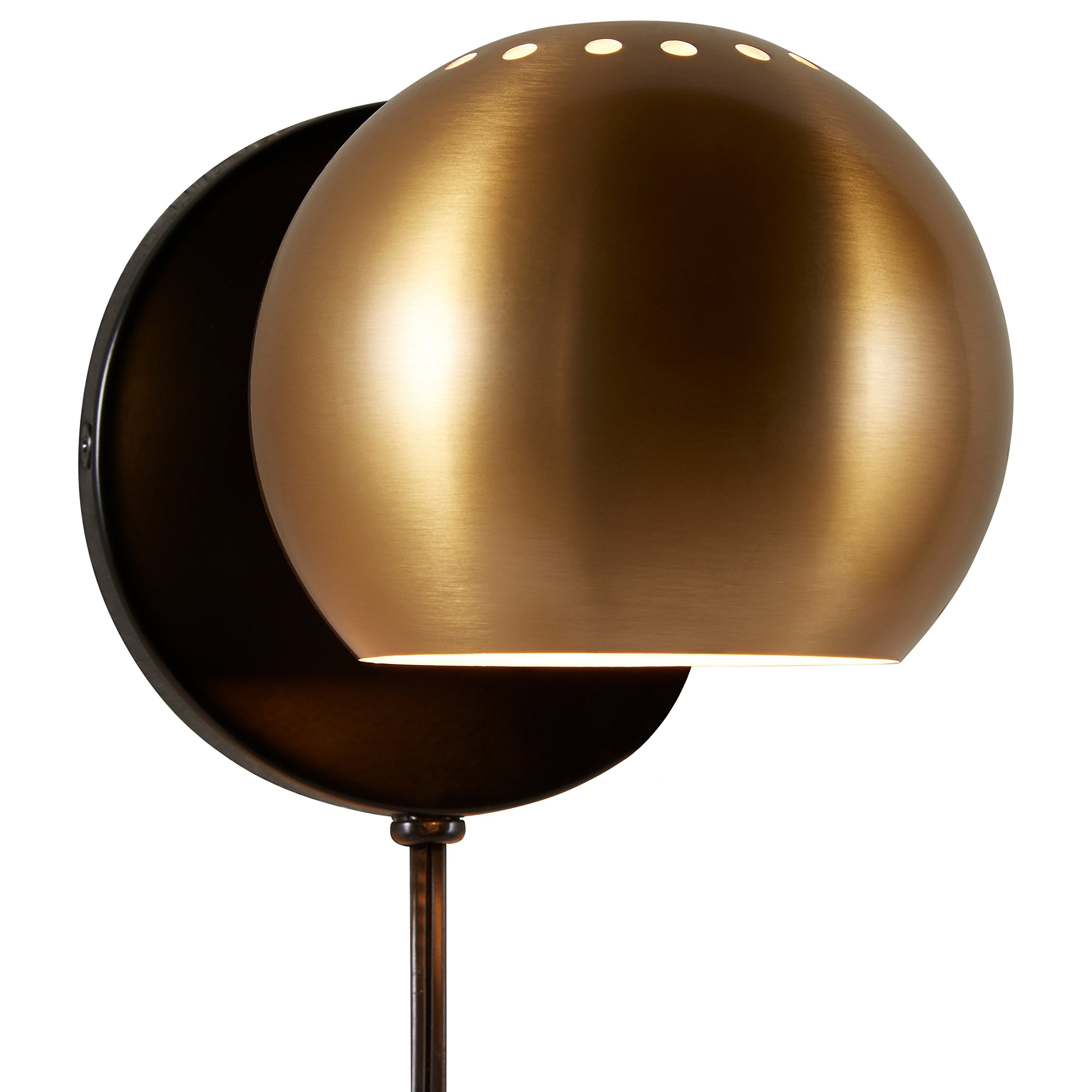 Rivet Gold Metal Plug-in Wall Sconce Light, 7''H, Gold Metal
