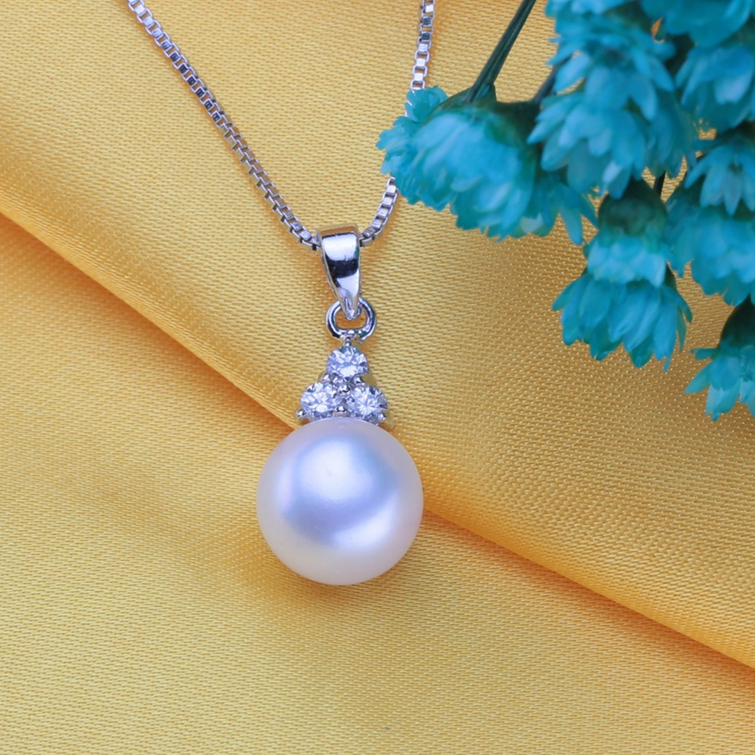 CS-DB Jewelry Silver Cute Pearl Chain Charm Pendants Necklaces