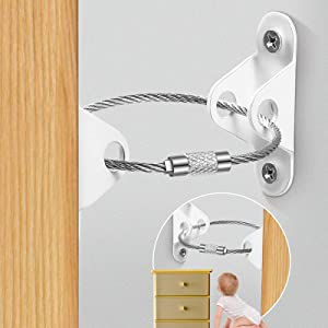Tayland 10 Pieces White Furniture Straps for Baby Proofing Earthquake Straps Furniture Bracket Stainless Steel Wire for Preventing Falling Anti Tip for Child Safety