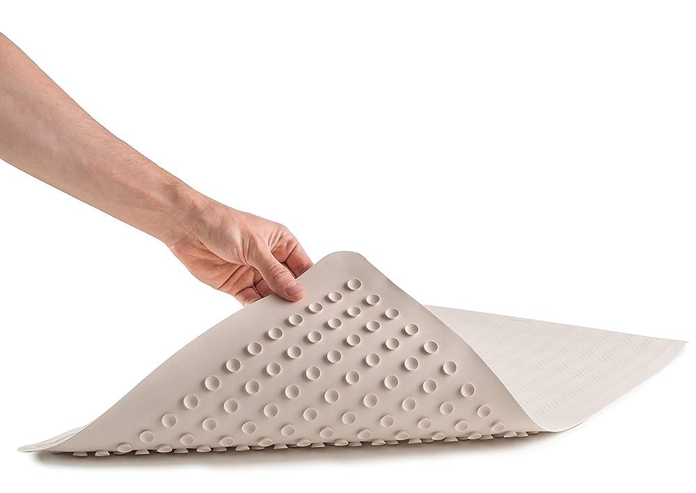 Epica Anti Slip Machine Washable Anti Bacterial Bath Mat 16 x 28 Natural Rubber