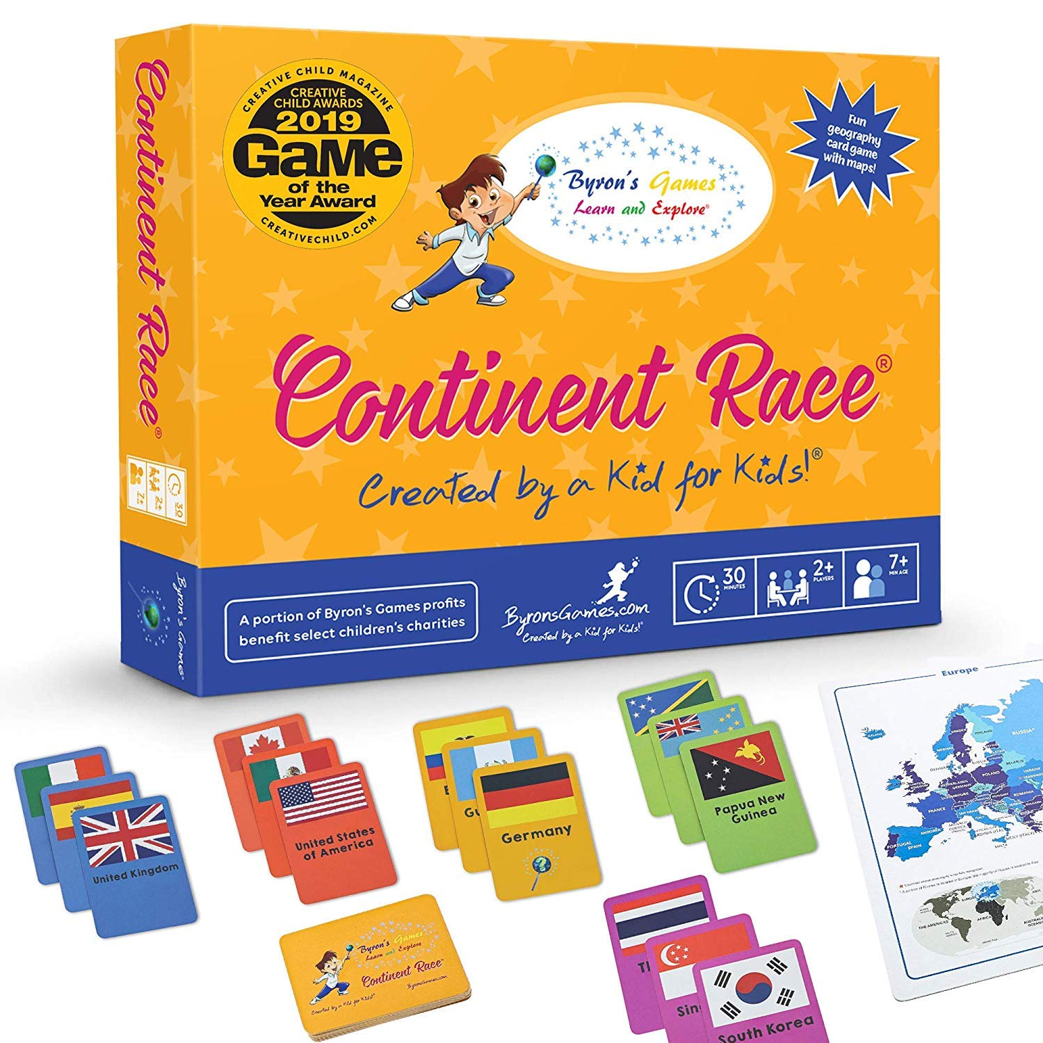 Continent Race World Map Board Games for Kids 7 and up | Award Winning Educational Geography Card Games for Families by Byron's Games