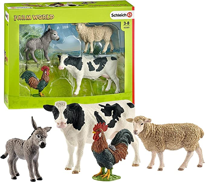 Model farm,ranch animals by Schleich,and wood corrals,scaled to 116 Ertl farm tractors