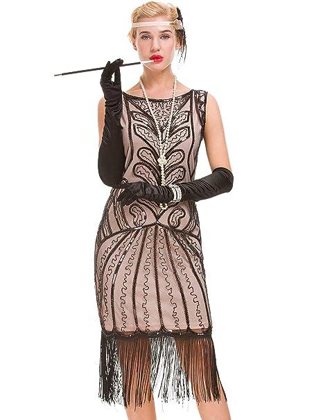 differently 8d745 09e25 Abito vintage da donna vintage anni '20 - Vestito da gatsby impreziosito  con paillettes anni '20