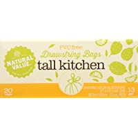 Natural Value 13 Gallon Drawstring Tall Kitchen Bags, 20 Bags