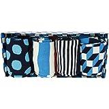 Happy Socks Unisex Filled Optic Cotton Crew Socks Gift Box, Set of 4 (Blue Multi, Men's Shoe Size 10-13)