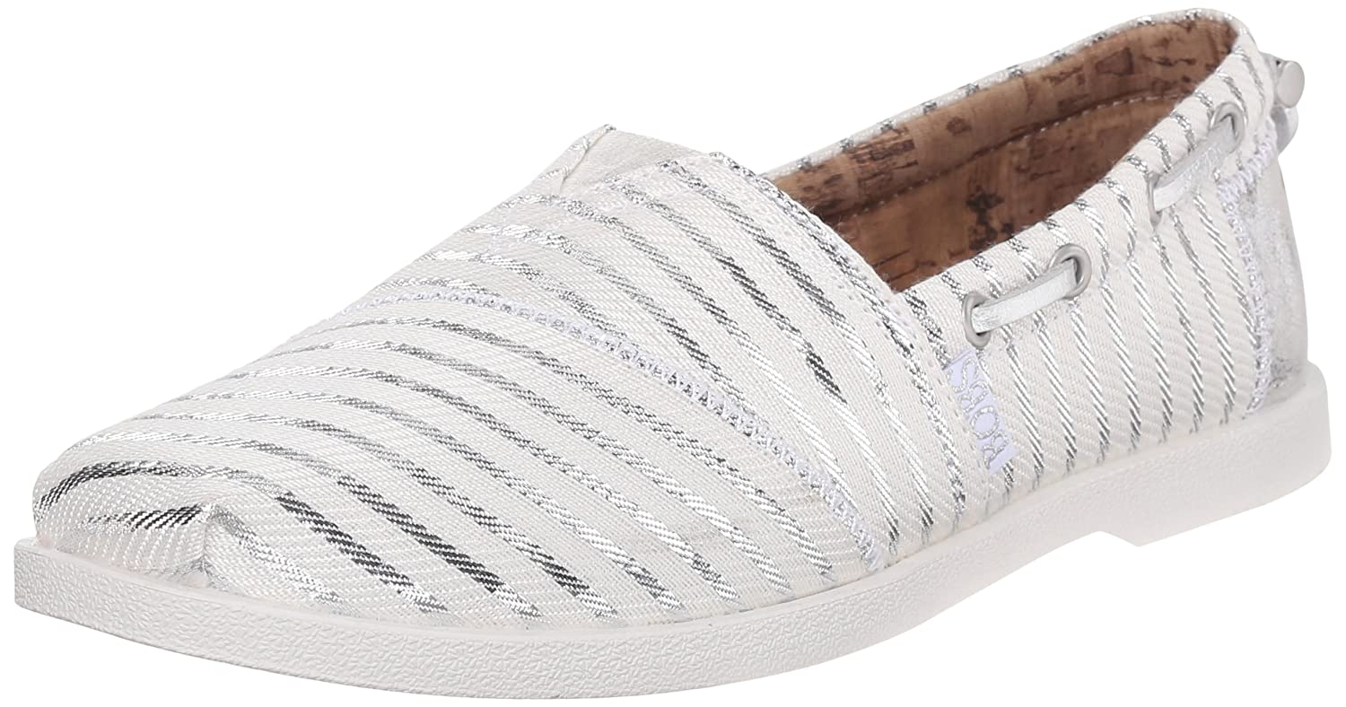 Skechers BOBS from Women's Chill Luxe Flat B014MB2JIS 9 B(M) US|White/Silver