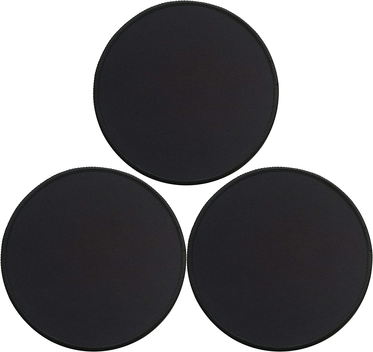 Gimnor 3 Pack Round Mouse Pads with Stitched Edges, Single Circular Mouse Pad Mat, Non-Slip Rubber Base Mousepad for All Types of Mouse Laptop Computer PC 7.87 x 7.87 inches Black