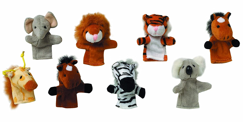 Toys Pure 15125 Fingerpuppen-Set Wilde Tiere 8er Set Gollnest & Kiesel Figurentheater und Zubehör