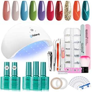Gel Nail Polish Kit Elfeland 10 Colors Home DIY Gel Polish Starter Kit with Light 48W LED Nail Lamp, Gel Base Top Coat, Nail Art Decors, Soak off LED Gel Nail Set Full DIY Gel Manicure Gift Box