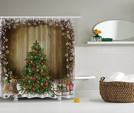 IMIEE Christmas Tree Shower Curtain With Holiday Presents Vintage Style Brown Fabric72quotx72quot