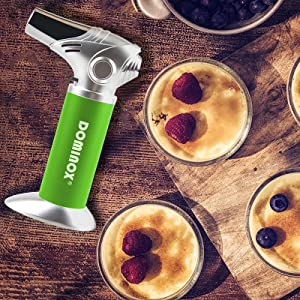 DOMINOX Torch Lighter Refillable Kitchen Culinary Butane Torch Adjustable Flame Cooking Blow Torch Creme Brulee Torch for Desserts Grill BBQ Searing Baking Camping (Butane Gas Not Included)