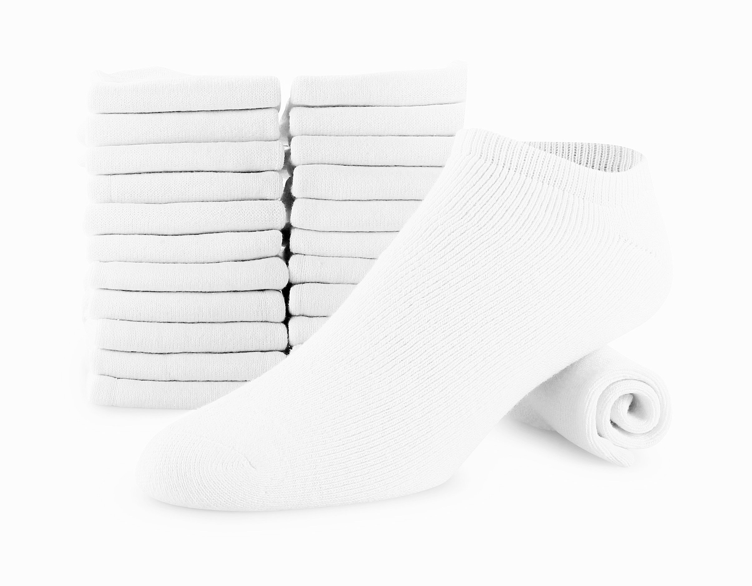 Men 12 Pack Cotton Sports Socks Crew No show And Ankle Made For Top National Brand 12 (WHITE, NO SHOW)
