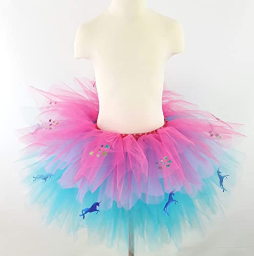 a31537031c Image Unavailable. Image not available for. Colour: Girls Blue unicorns and  sparkly stars Turquoise and Pink Multi Layered Tutu ...