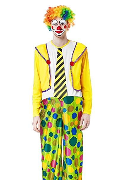 Adult Men Big Top Clown Halloween Costume Circus Harlequin Dress Up & Role Play (One size fits most, yellow, white)