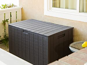 Barton 130 Gallon Resin Large Deck Box-Organization Storage for Patio Furniture, Outdoor Cushions, Garden Tools and Pool Toys