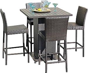 TK Classics NAPA-Pub-WITHBACK-4 5 Piece Napa Pub Table Set with Barstools Outdoor Wicker Patio Furniture