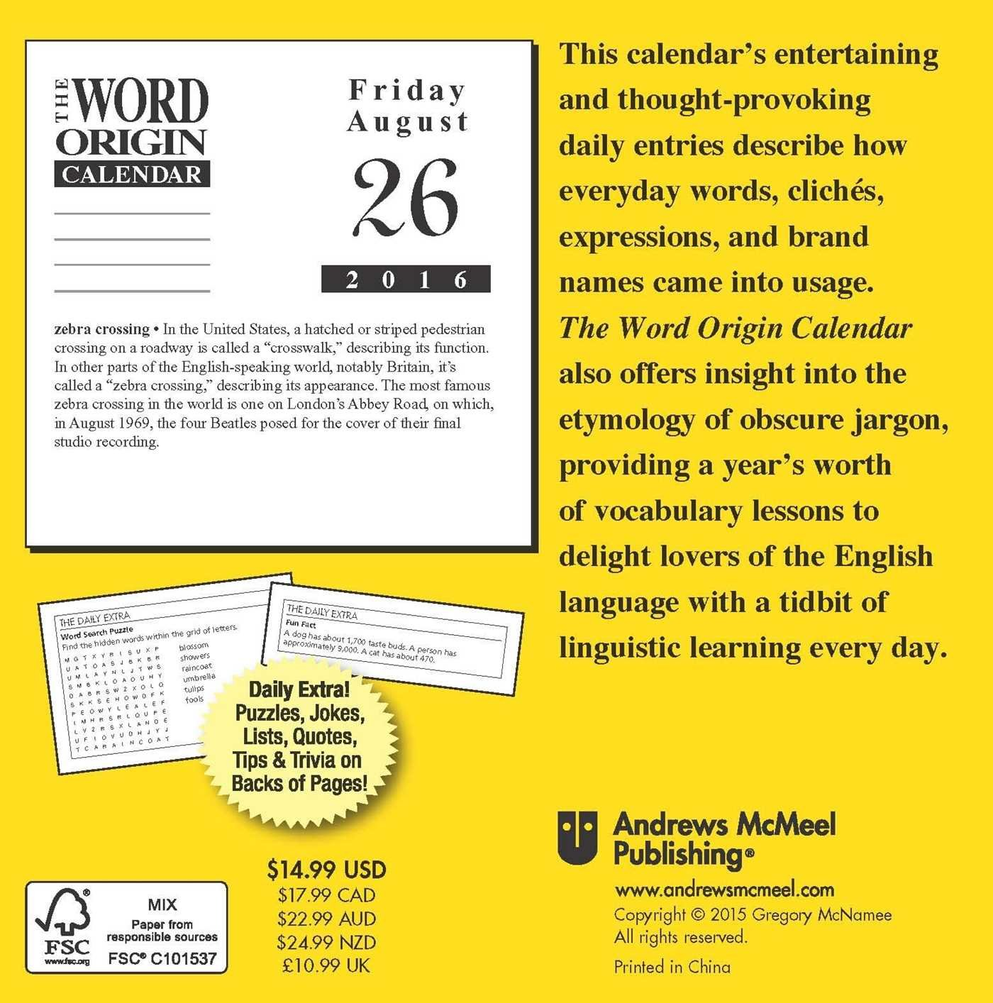 Word Origin 2016 Day-to-Day Calendar: Gregory McNamee ...