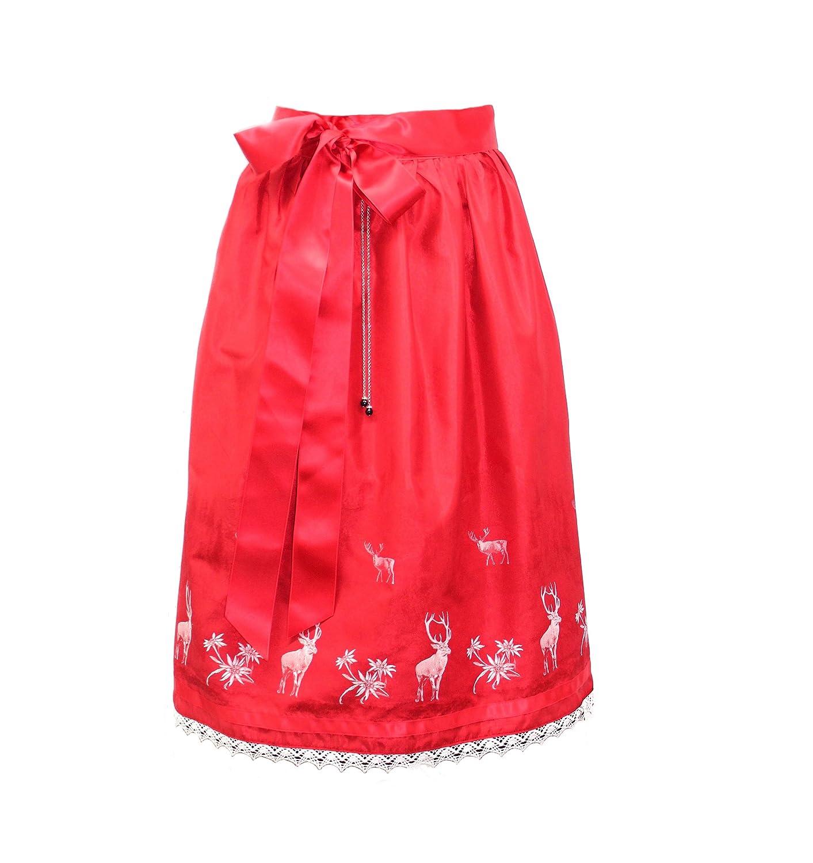 Dirndlschürze rote Schürze Dirndlschürzen Moda Bavarica Hirsch Dirndl Damen 70cm lang