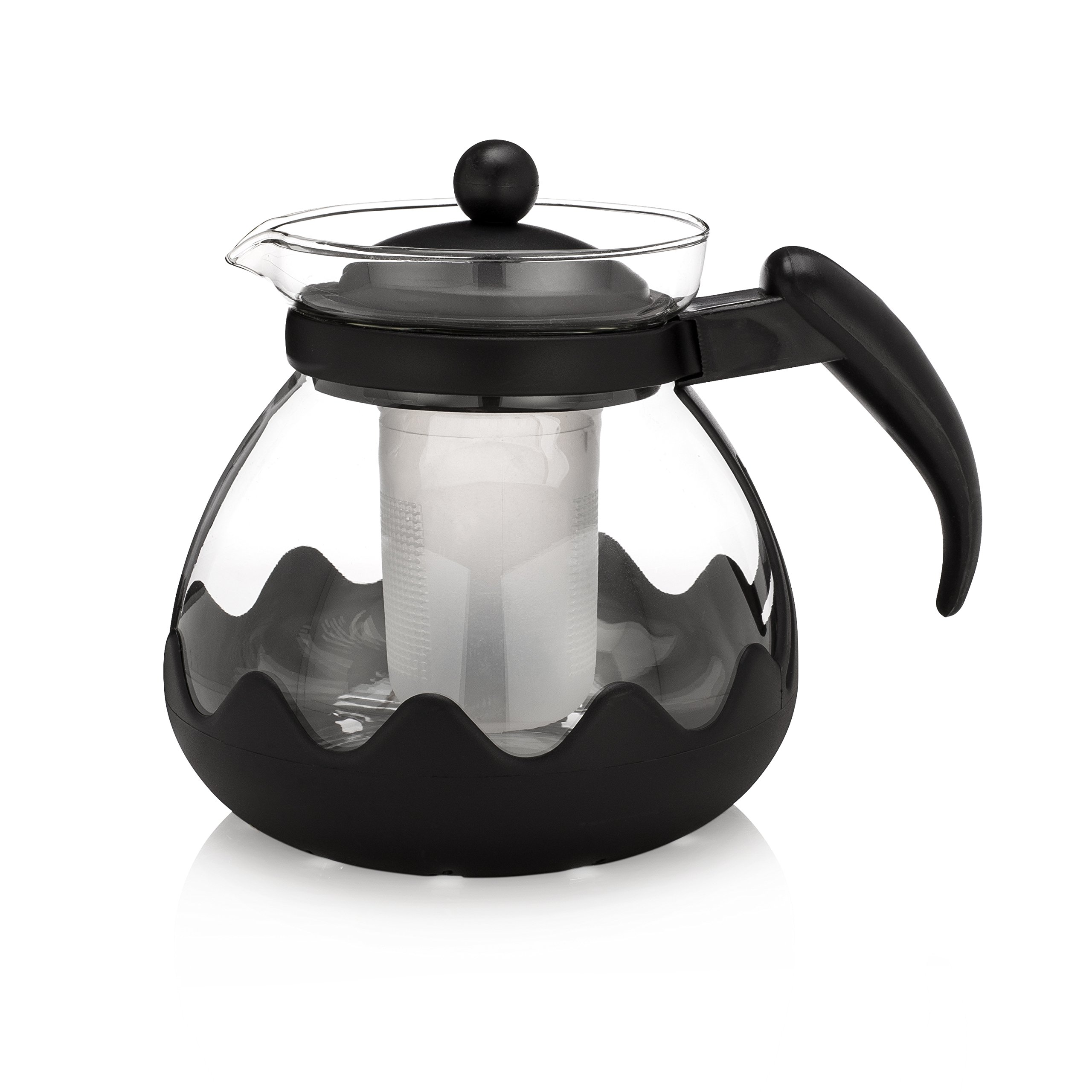 JUWA PREMIUM Glass Teapot with Removable Tea Infuser, Tea Kettle for Loose Tea or Green tea, 42 Oz / 1240 ml Black & Flower Tea Maker