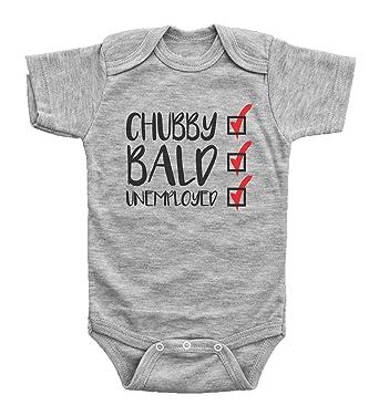 0fed40264 Amazon.com: InkCallies Funny Baby Onesie, Chubby. Bald. Unemployed ...