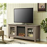 """WE Furniture 58"""" Wood Fireplace TV Stand Console, Driftwood"""