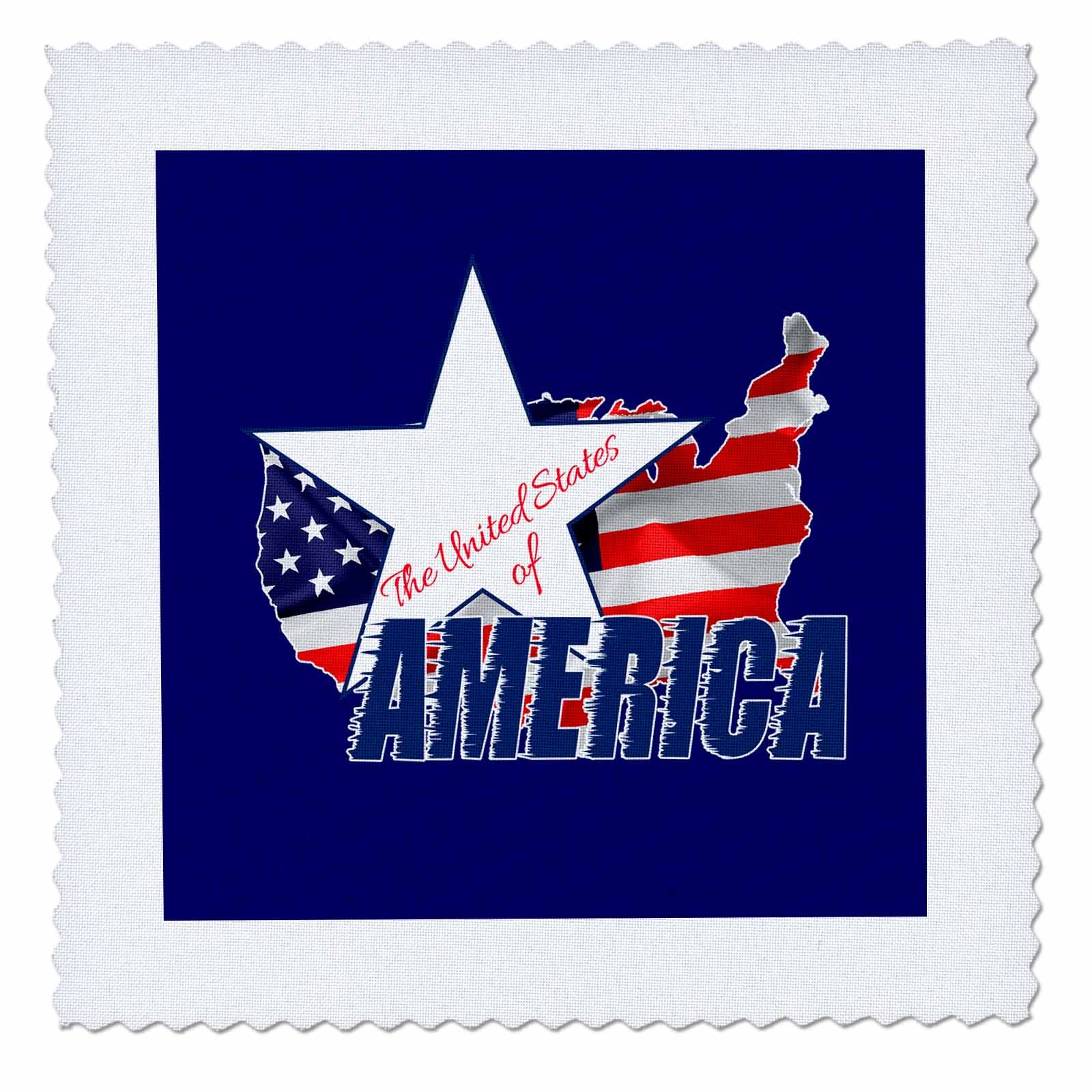 3dRose Alexis Design - America - American Map and Star, text The United States of America on blue - 18x18 inch quilt square (qs_270548_7) by 3dRose