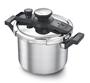 Prestige Clip-on Pressure Cooker Stainless Steel Cook And Serve Pot, Large, 6 Liters