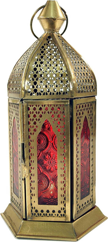 21x9,5x9,5 cm Farbe: Orange Orange Windlicht Orientalische Laternen Guru-Shop Orientalische Messing//Glas Laterne in Marrokanischem Design