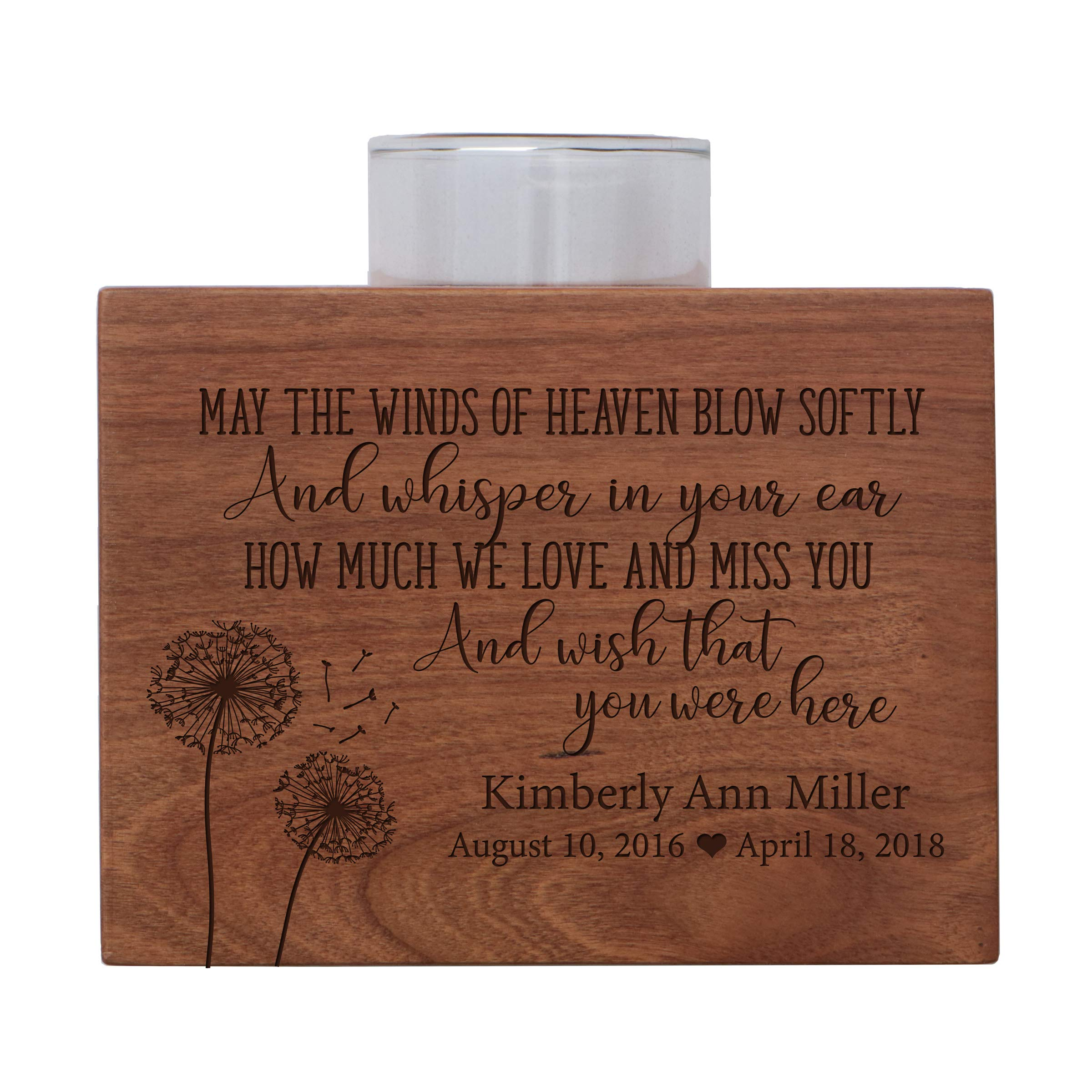 LifeSong Milestones Personalized Memorial Sympathy Votive Candle Holder Cherry Wood Keepsake Gift Ideas for Loved One 5'' x 3.75'' x 2.75 (May The Winds of Heaven Blow)