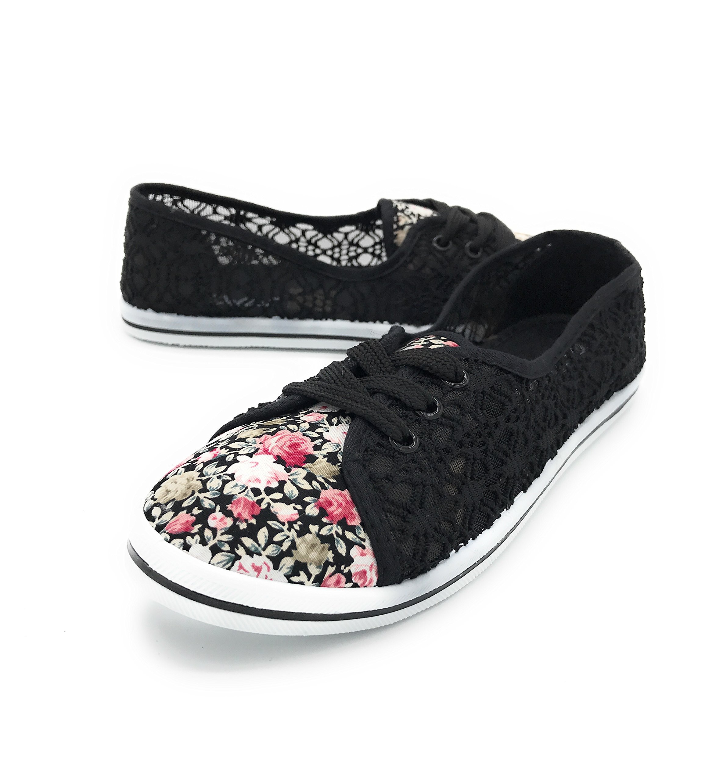 EASY21 Women and Girls Canvas Lace up Falts Ballet Kids Shoes (7.5 B(M) US, Black rose13)