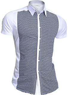 Mondo Mens Black Knitted Shirt Short Sleeve Shirt Cotton Slim Fit Metal Zipper