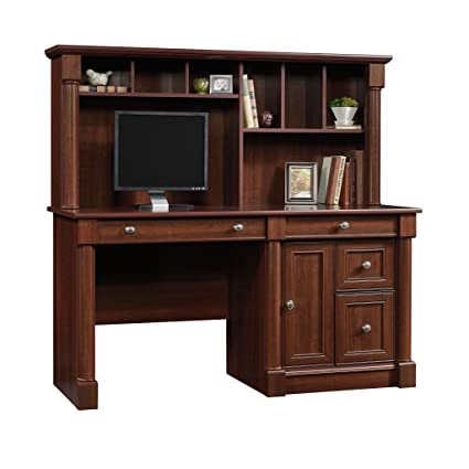 walnut computer dark desks harbor in heritage hutch sauder finish view office collection desk home furniture with hill