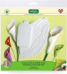 Calla Lily & Tulip Leaf Vein & Texture Set, Sugarpaste Silicone Mold, Flower Pro by Nicholas Lodge for Cake Decorating, Crafts, Cupcakes, Sugarcraft, Candies, Chocolate and Clay, Food Safe Approved