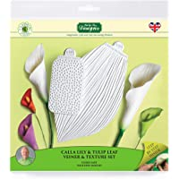 Calla Lily & Tulip Leaf Vein & Texture Set, Silicone Sugarpaste Icing Mould, Flower Pro for Cakes, Crafts, Cupcakes, Sugarcraft, Candies, Card Making and Clay, Food Safe Approved, Made in The UK