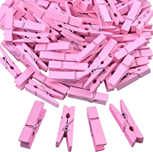 BronaGrand 100pcs Mini Pink Wooden Utility Paper Clip, Clothespins Clip, Clothes Line Clips,Photo Clips