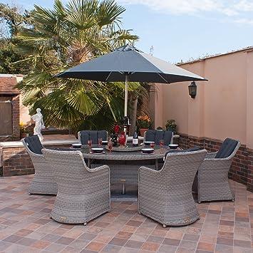 Al aire libre muebles de ratán Casamore Madrid – 180 cm elíptica conjunto de comedor en