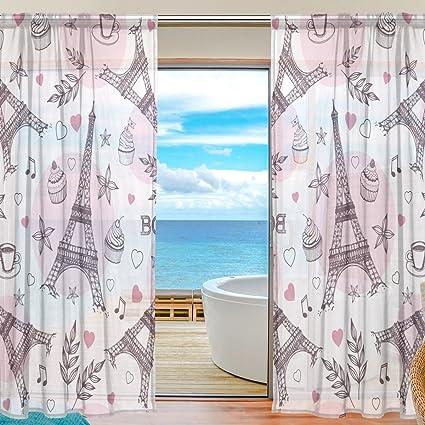 Amazon ColourLife Pink Paris Symbols Sheer Gauze Door Curtain