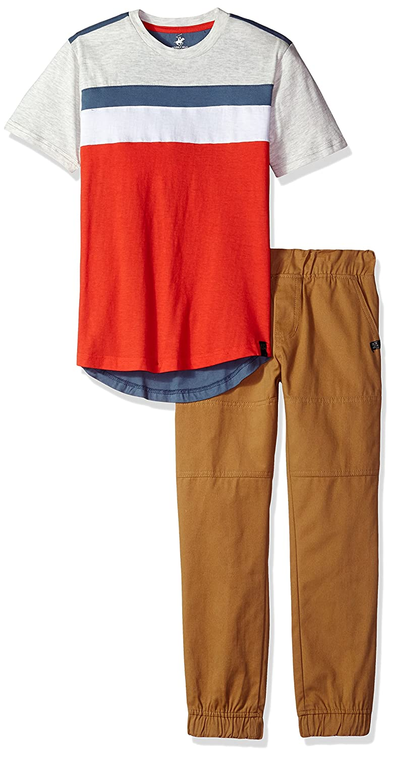 Beverly Hills Polo Club Boys' Short Sleeve Top & Twill Pant Set