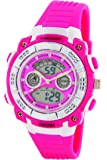 Dunlop Bloom Women's Digital Watch with LCD Dial Analogue - Digital Display and Pink PU Strap DUN-244-L55