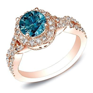 14k Rose Gold Round Cut Blue Diamond Engagement Ring (1 Cttw, Blue H I