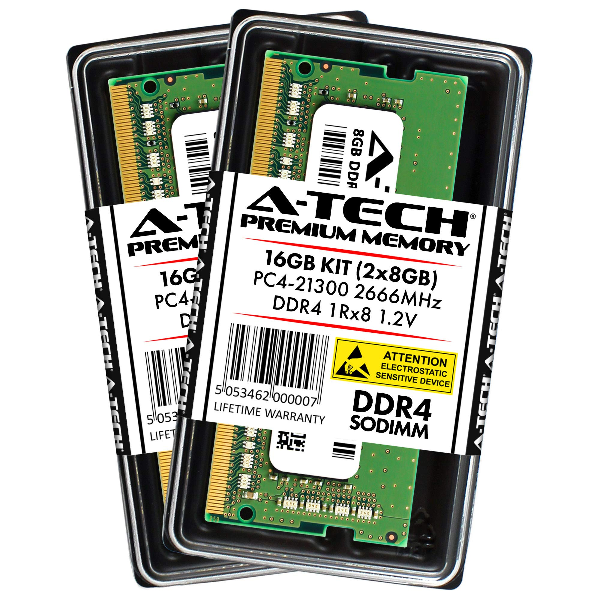 Memoria Ram 16GB A-Tech DDR4 2666MHz Kit (2 x 8GB) PC4-21300 Non-ECC Unbuffered SODIMM 260-Pin 1Rx8 1.2V Single R