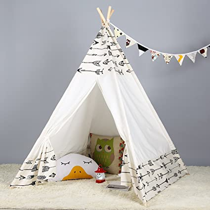 promo code 31fcb 9d491 Steegic Portable Kids Cotton Canvas Teepee Indian Play Tent Playhouse -  Frontier Design