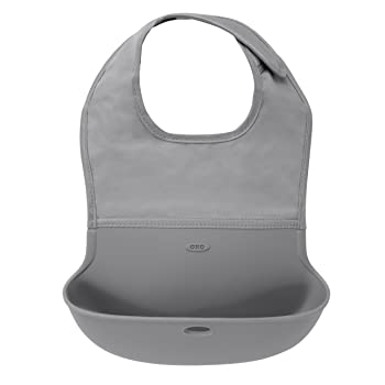 OXO Tot Waterproof Silicone Roll Up Bib with Comfort-Fit Fabric Neck, Gray
