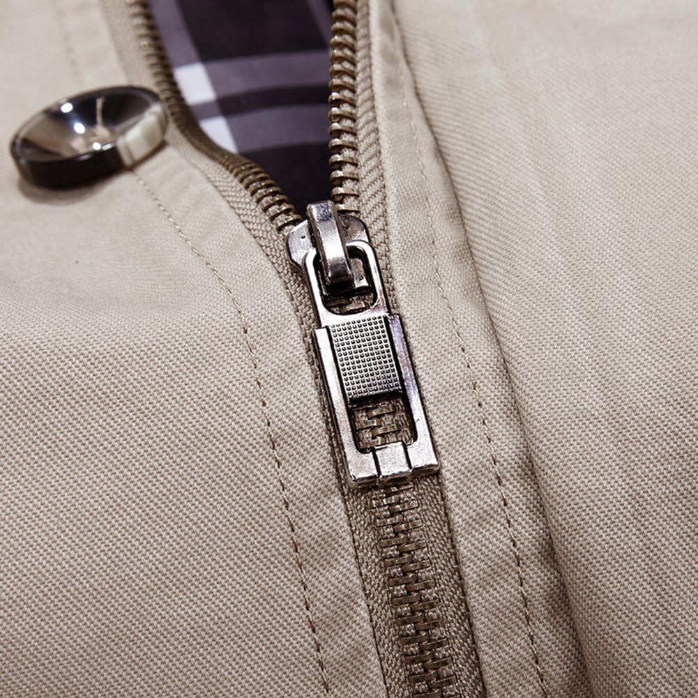 Mochoose Uomo Giacca in cotone trench Colletto classico giacca a vento con cappuccio Cappotto rimovibile con zip manica lunga Cachi Scuro