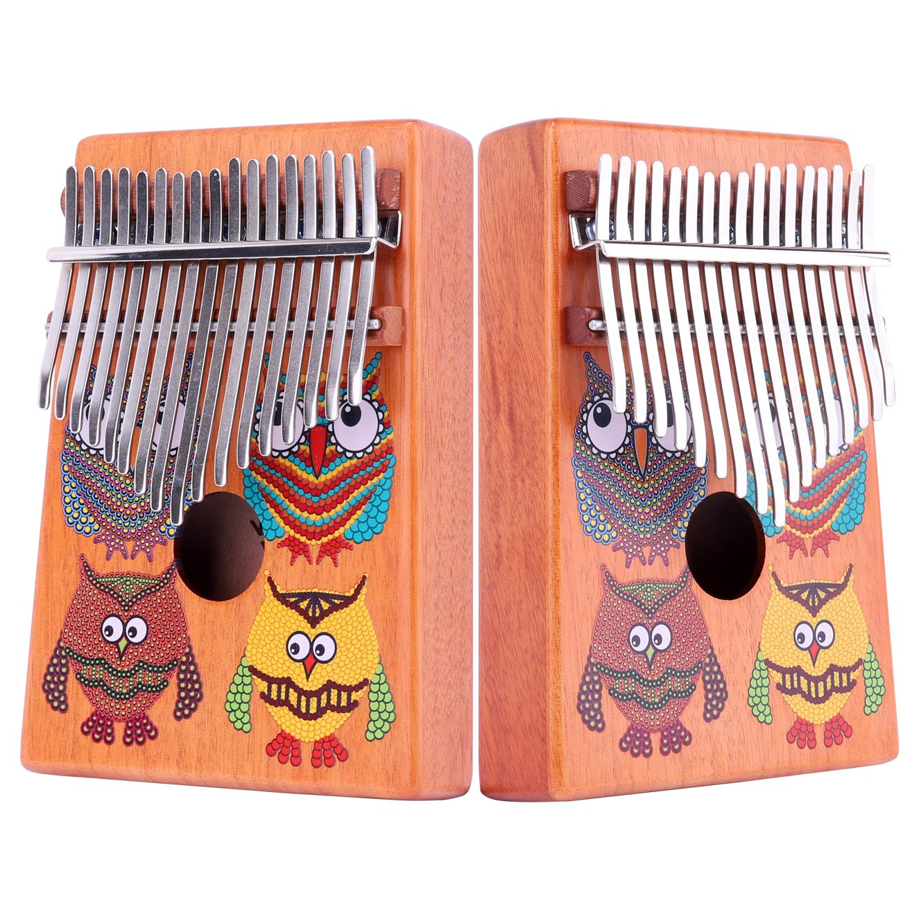 VI VICTORY 17 Key Mahogany Kalimba Colorful African Thumb Piano Finger Percussion Keyboard Music Instruments - Owl by VI VICTORY (Image #2)